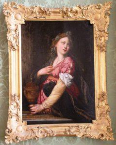 Makaberer Smoothie! Auf diesem Gemälde in der Grünen Galerie der Residenz setzt Artemisia mit entsagungsvollem Blick zum Aschetrunk an - Prost! Ähnliche Bildkompositionen zeigen oft auch die antike Königin Sophonisbe, die den vom Gatten gereichten Giftbecher leert.