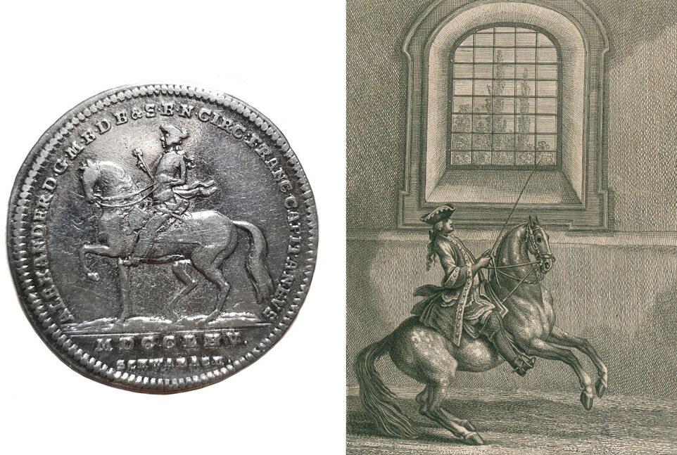 Ridinger Stich Pferd Reiter Münze